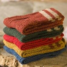 Chaussettes en laine pour femmes, 5 paires, automne-hiver, Harajuku, japonais et coréen, chaussettes épaisses pour femmes, B0033