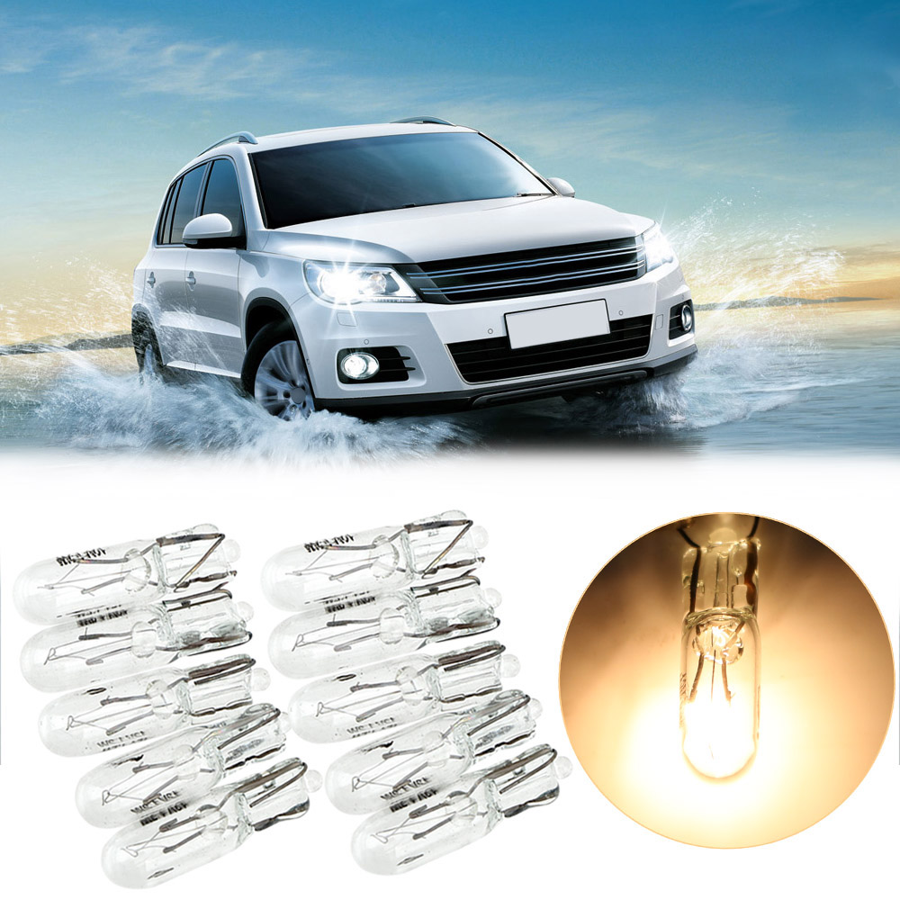 LEEPEE Car Instrument Lamp <font><b>T5</b></font> 286 Halogen Bulb 10pcs <font><b>1.2W</b></font> Side Wedges Lights Auto Lamps <font><b>12V</b></font> Light Source Warm White Color image