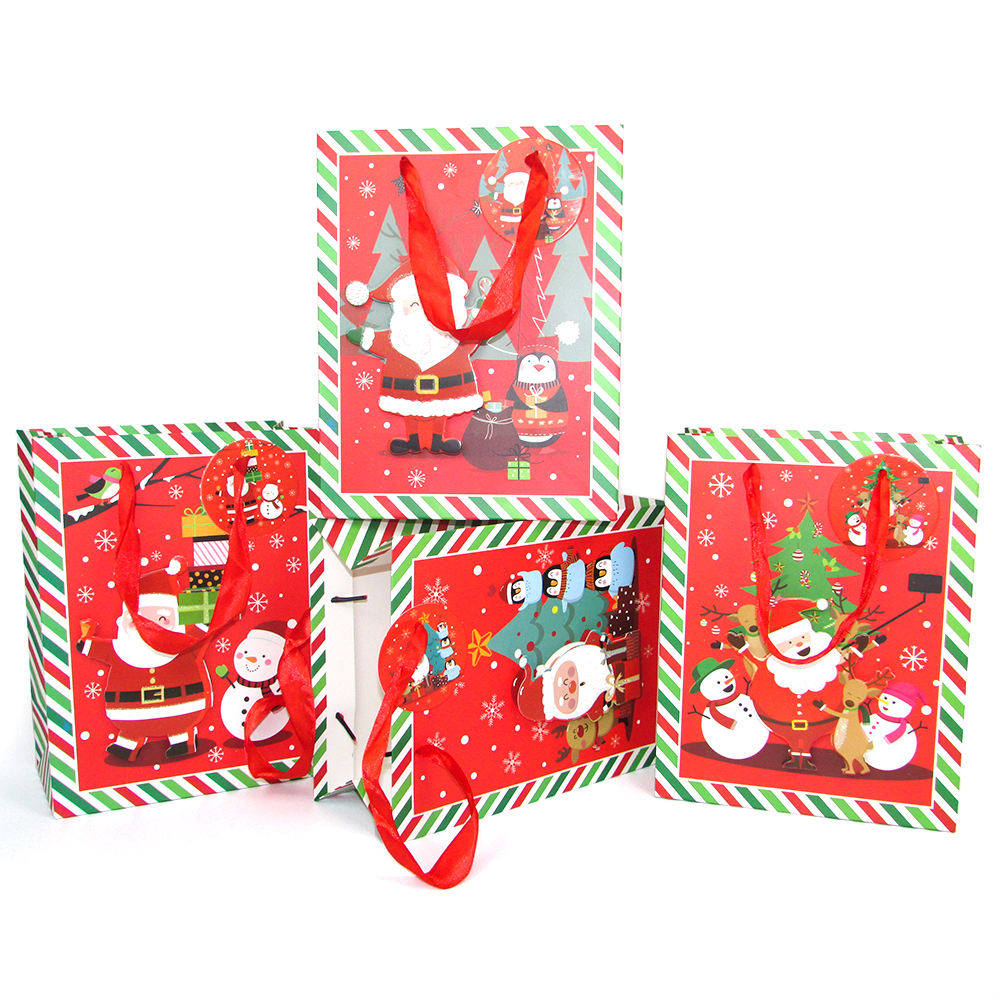 Merry Christmas Gift Bag Paper With Handle Favors Package Bag For Children Red Glitter Powder Christmas Tree Dog Gift Box Decor