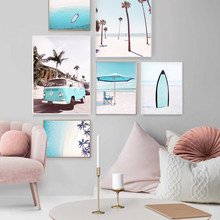 Modern Blue Beach Photos Prints Canvas Painting Tropical Coastal Gallery Wall Art Pictures For Living Room Home Decor Posters
