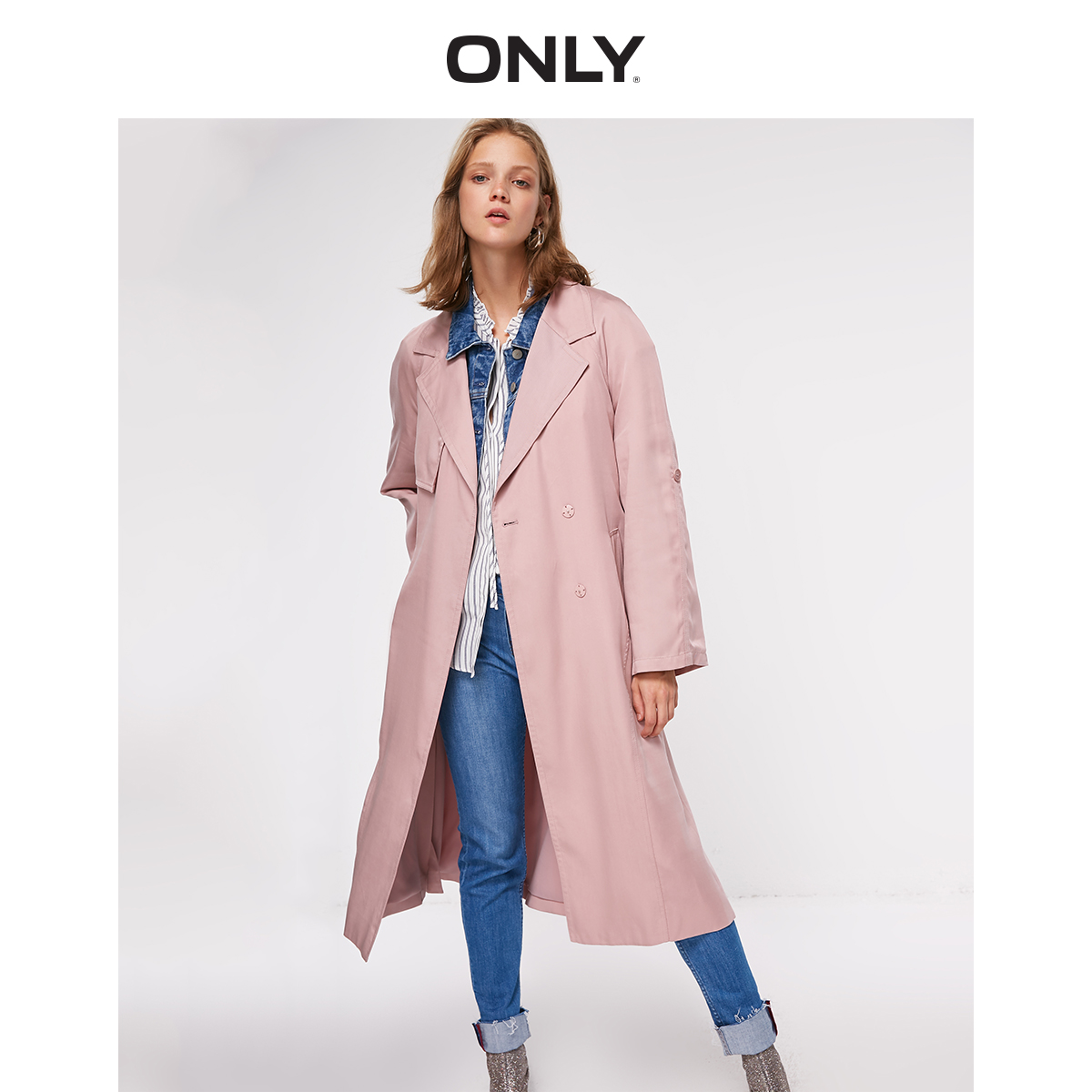 Women's Lace-up Cinched Waist Loose Fit Overknee Trench Coat  | 118336548