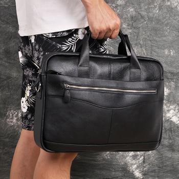 "Men Genuine Leather Antique Fashion Business Briefcase 15.6"" Laptop Case Attache Portfolio Bag One Shoulder Messenger Bag 1118-b"