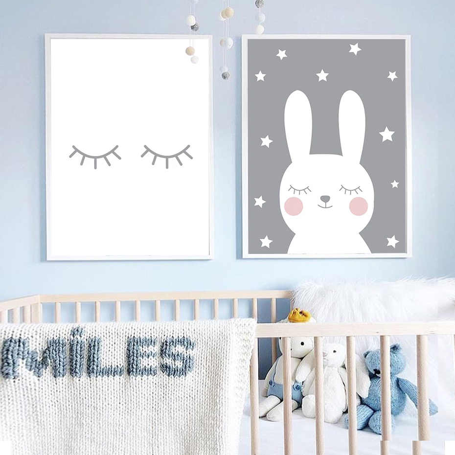 Cute Nursery Decor Bunny Pink Love Heart Poster S Wall Art Canvas Painting Print Pictures New Baby Gift Home