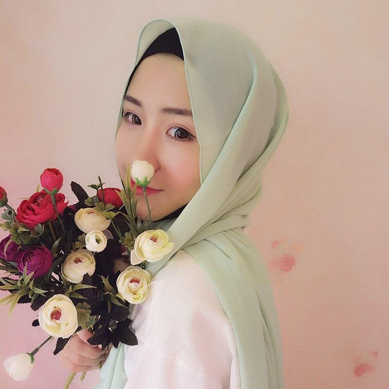 Fashion Plain Pearl Bubble Chiffon Instant Hijab Scarf Solid Color Headwear Wrap Foulard Cachecol Sjaal Beach Pearo Muslim Hijab