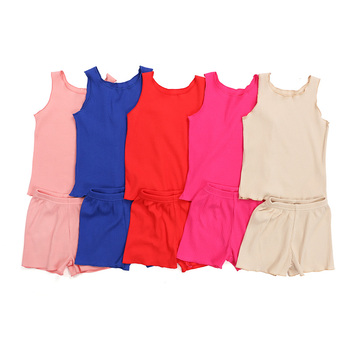 Kaiya angel Hot Sale Girl Boutique Clothing Set Sleeveless Top Elastic Short Children Summer Outfits Solid Color Kids Casual Set