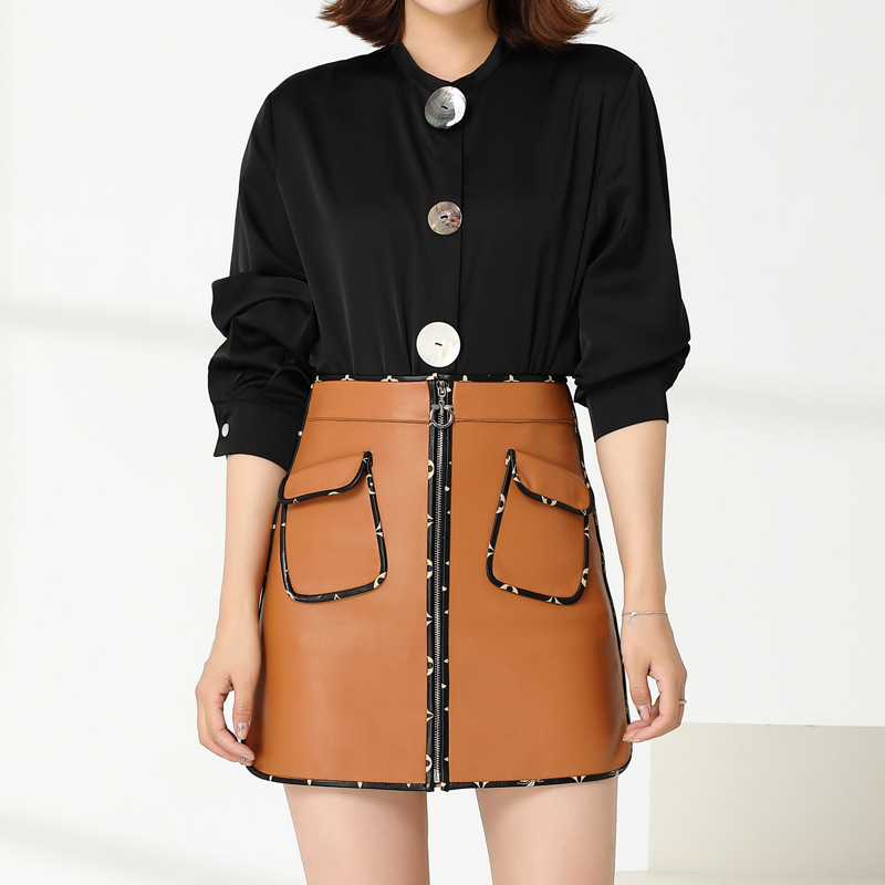 Europe&America women's high quality genuine leather mini skirts 2019 autumn brand new women high waist A line skirt B135