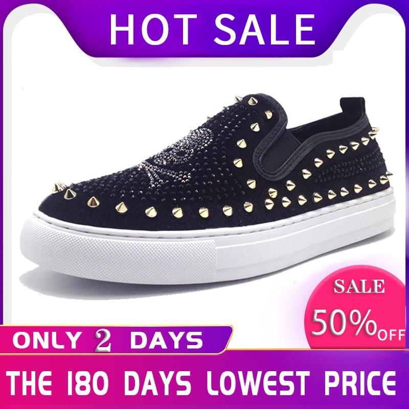 Slip On Skull Men Loafers Black Red Bling Bling Rhinestones Prom Shoes With Spikes Mocasines Hombre 3#15/15E50