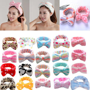 Elastic Headband Hair-Accessories Makeup Plush-Bow Korean-Fashion Dot Wash-Face Printed