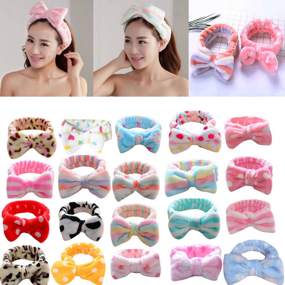 Korean Fashion Dot Printed Plush Bow Headbands Wash Face soft Hairband Makeup Headwrap Turban Elastic Headband Hair Accessories