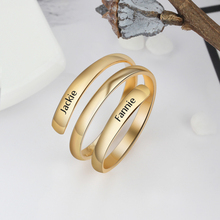 Personalized Spiral Twist Ring Engraved 2 Names Silver Gold Stainless Steel Custom Adjustable Rings Promise For Her BBF