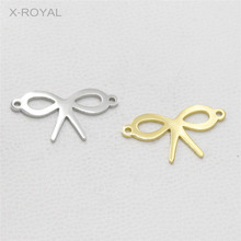 X-ROYAL 10Pcs/lot Geometric Bowknot Bracelet Charm Connectors Stainless Steel DIY Jewelry Findings Necklace Pendant