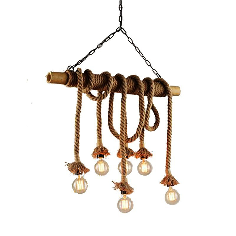 Loft Bamboo Hemp Rope A Chandelier Network Café Bar Originality Bar Counter Toggery Industry Wind Decoration Lamps And Lanterns