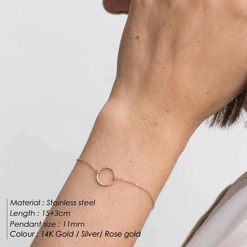 316L ผู้หญิงแฟชั่นสแตนเลสสตีลเรขาคณิตสร้อยข้อมือ Minimalist CHAIN สร้อยข้อมือปรับความยาวสร้อยข้อมือเครื่องประดับ