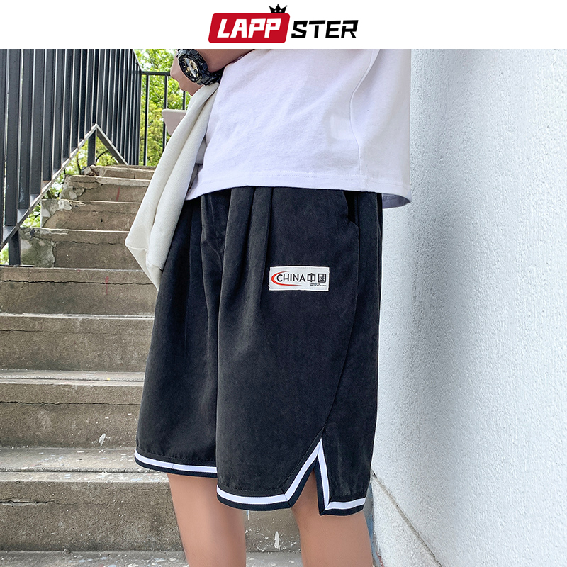 LAPPSTER Side Striped Basketball Shorts Men Summer 2020 Knee Length High Waist Sweatshorts Casual Sweatpants 6 Colors Joggers