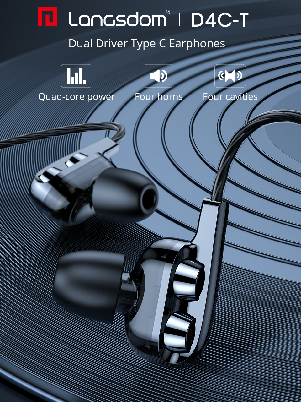 Langsdom New USB Type C Earphone for Phone Xiaomi with Mic in ear Headphone Hifi Bass Headset for Samsung Auriculare USB C Phone
