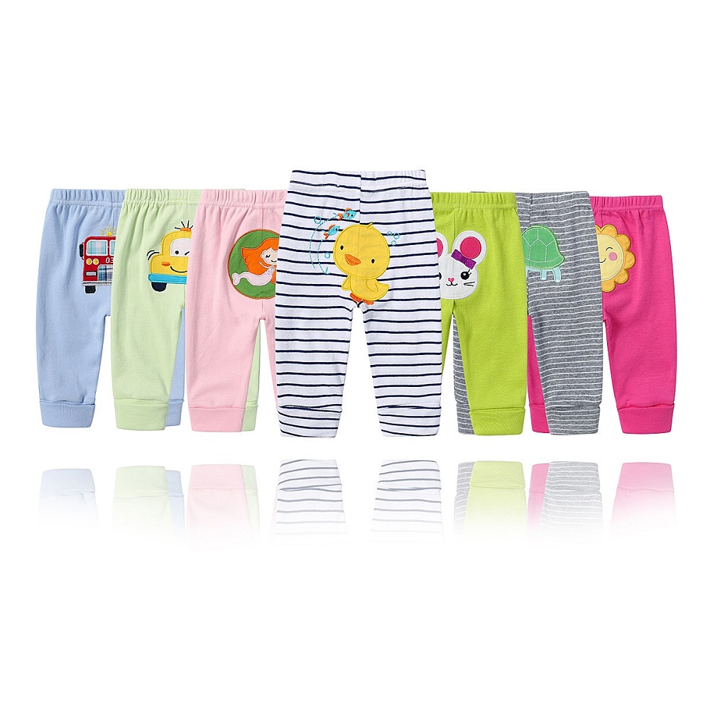 Random 5Pcs/lot Baby Pants 0-24M New Spring Autumn Kids Clothing High Quality Cotton Clothes Cartoon Animal Pants Bebe Pant