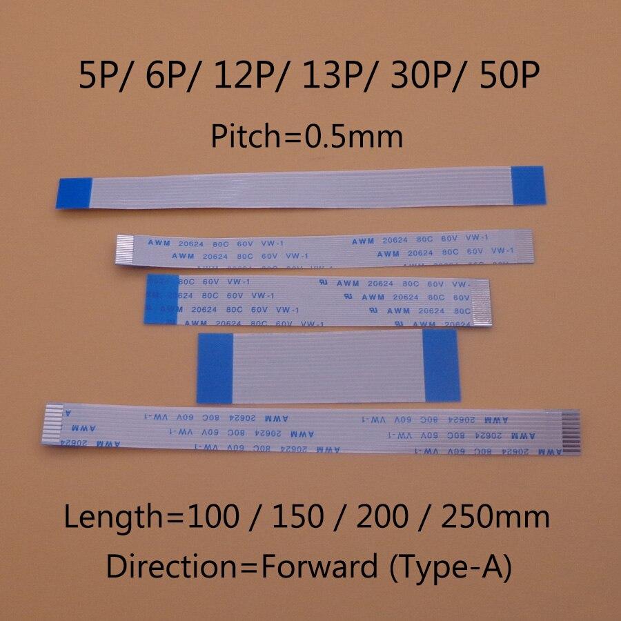 2Pcs 500mm 0.5M AWM 20624 80C 60V VW-1 40 Pin 0.5 Pitch FFC Flexible Flat Cable