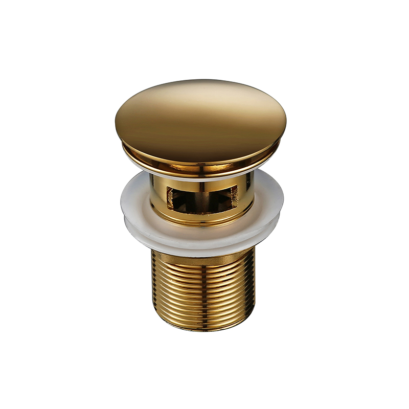 Bagnolux Polished Gold Basin Sink Drainer Corrosion Resistant Easy To Clean Pop Up Button Round Hole Bathroom Hotel Drainer