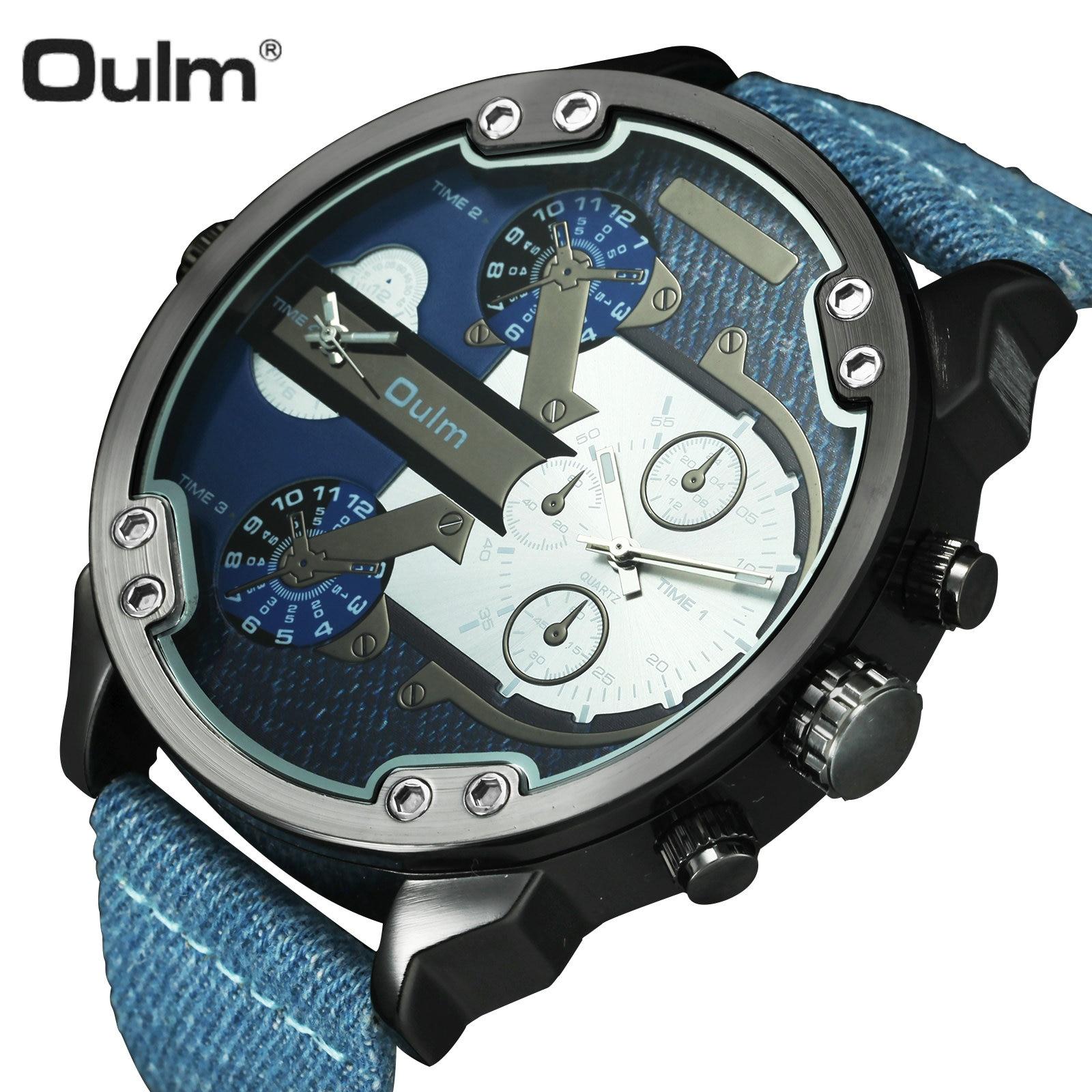 OULM Sport Quarz Uhr Männer Große Fall Military Herren Uhren Top Brand Luxus Leinwand Strap 2 Zeit Zone Fashion Casual armbanduhr