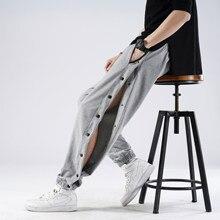 Novo aberto-breasted guarda calças masculinas primavera verão fino algodão cintura elástica calças esportivas homens soltos pés largos pernas calças casuais