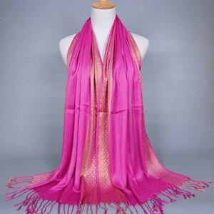 Fashion 180-60cm Muslim Hijab Fashion Tassel Headscarf Gold Thread Headscarf Scarves Turban Women Head Coverings
