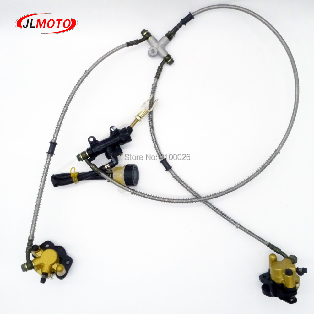 1Set 2 In 1 Foot Lever Hydraulic Disc Brake Fit For 108mm/110mm Disc ATV Electic DIY Bike Go Kart Buggy UTV Scooter Parts