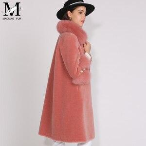 Image 4 - MAOMAOFUR الصوف معطف المرأة فراء ثعلب حقيقي طوق صفعة الدافئة أبلى السيدات جديد أزياء نمط طويل حقيقية الأغنام الفراء سترة