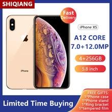 Original desbloquear apple iphone xs usado smartphone traseiro dual1200 mp a12 biônico 5.8 polegada celular 4gb + 64gb/256gb nfc versão global