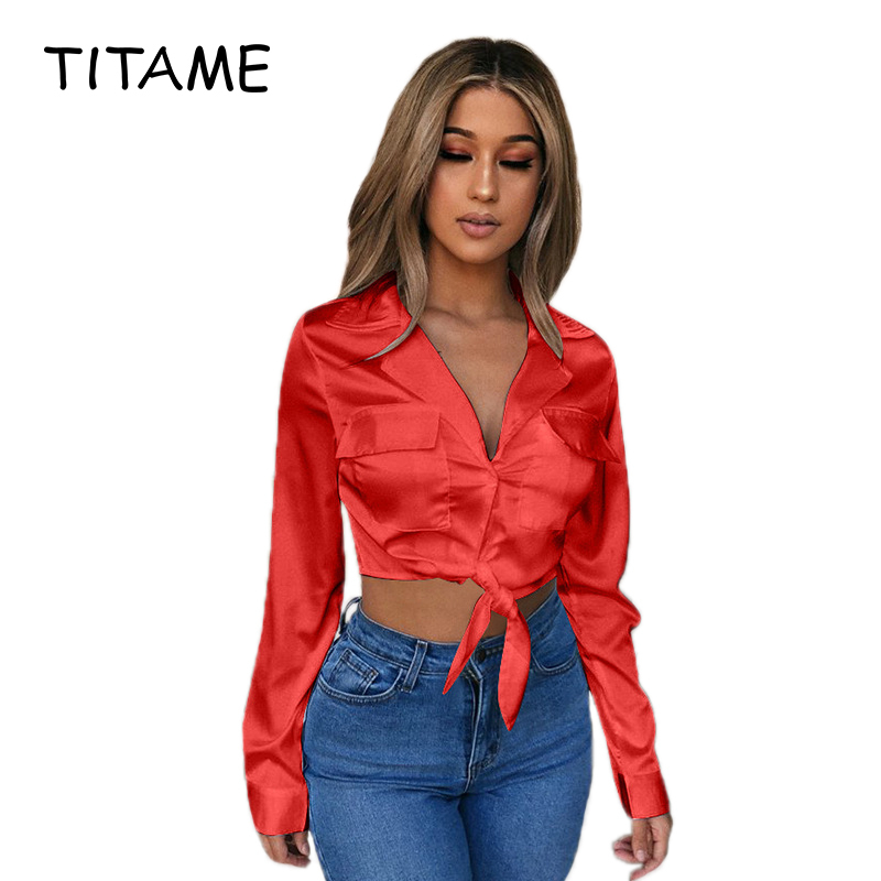 TITAME Satin Blouse Women Shirt Lace Up Turn Down Long Sleeve Streetwear Botton Tops Female Casual Sexy Style Top Shirts Blouses