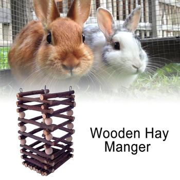 Wooden Hay Manger Grass Frame Pet Toy Trough Feeder for Rabbits Chinchilla Hamster Guinea Pigs 2