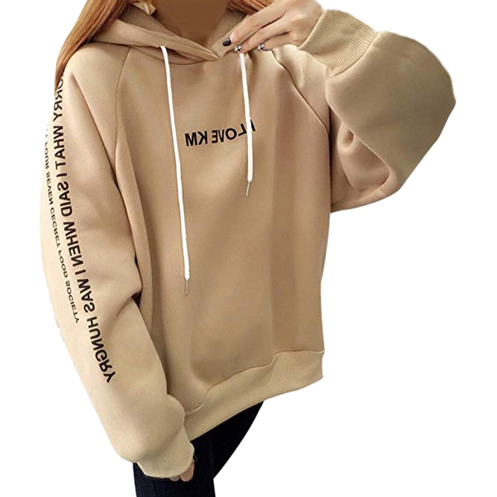Jaycosin Fashion Autumn Casual Female Letter Print Hooded Thickened Sweatshirt Long Sleeve Comfortable Pullover Blouse Top 12#10