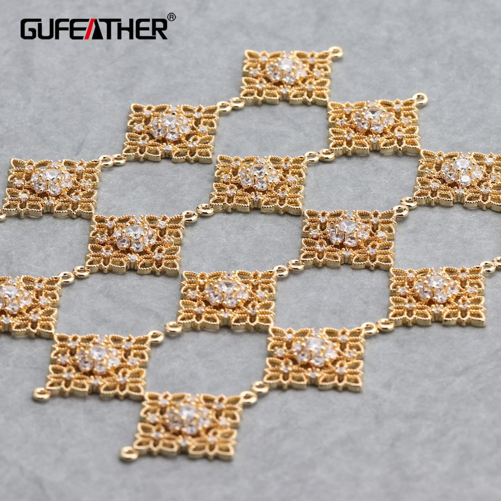GUFEATHER M648,jewelry Accessories,18k Gold Plated,diy Zircon Pendants,hand Made,charms,diy Earrings,jewelry Making,6pcs/lot