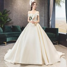 Alilove 2019 A Line/V Neck/White/Off Shoulder/Simple/New/Style/Big Size/Bridal/Bride Wedding Dress Sleeveless/Lace/Women/Luxury(China)