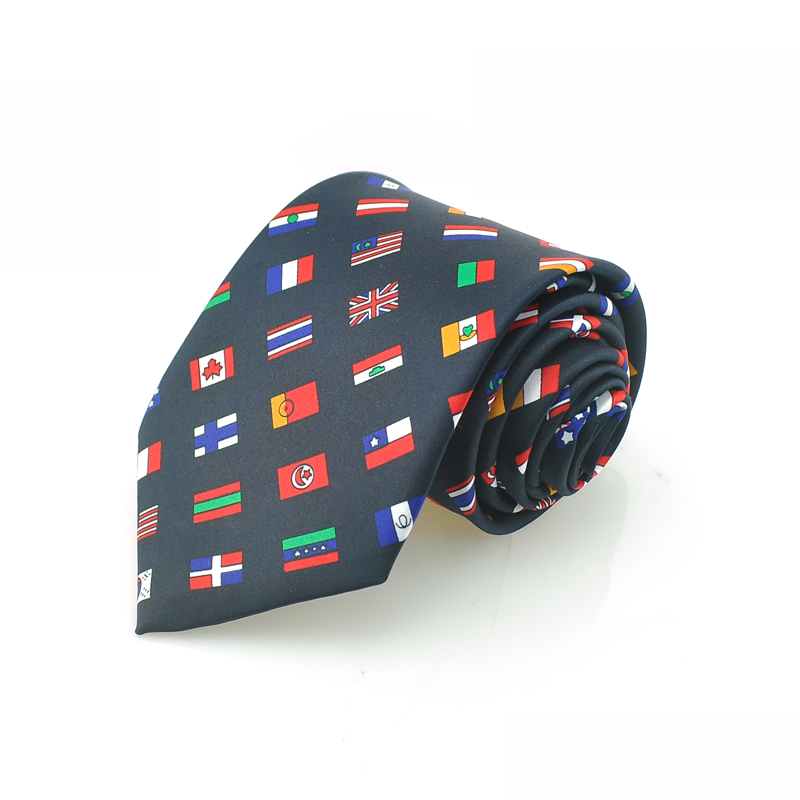 New 4 Inch Wide National Flags World Flag Olympic Country Flags  Necktie Polyester Woven Fashion Men Party Wedding Tie Cravat