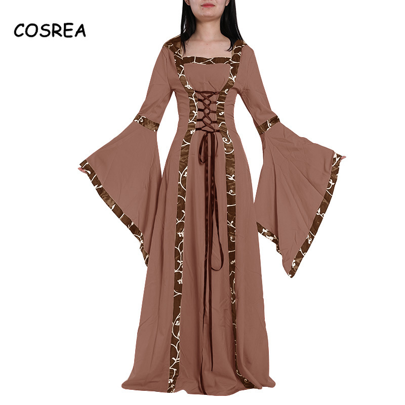 Women Lady Vintage Medieval Court Dress Girls Stage Costume Cosplay Long Dress