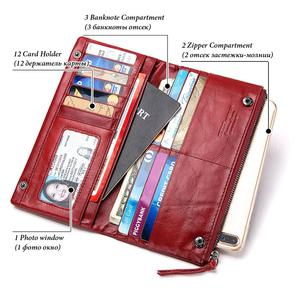 Image 3 - Famous Brand Genuine Leather Women Long Wallet Female Zipper Clamp Coin Purse Lady Walet Fashion Cell Phone Pocket Money Bag