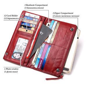 Image 3 - Ünlü marka hakiki deri kadın uzun cüzdan kadın fermuar kelepçe bozuk para cüzdanı bayan cüzdan moda cep telefonu cep para çantası