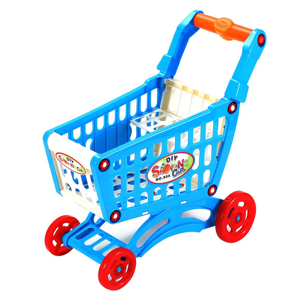 Pretend Play Toy Simulation Supermarket Shopping Cart Mini Plastic Trolley Play Toy Gift For Children Play Role In Pretend Game