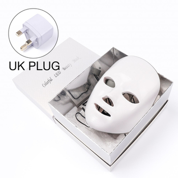 7 Colors Led Therapy Mask Light Face Mask Therapy Anti Acne Whitening Facial Mask Korean Skin Care Face Rejuvenation Home SPA - UK Plug Box