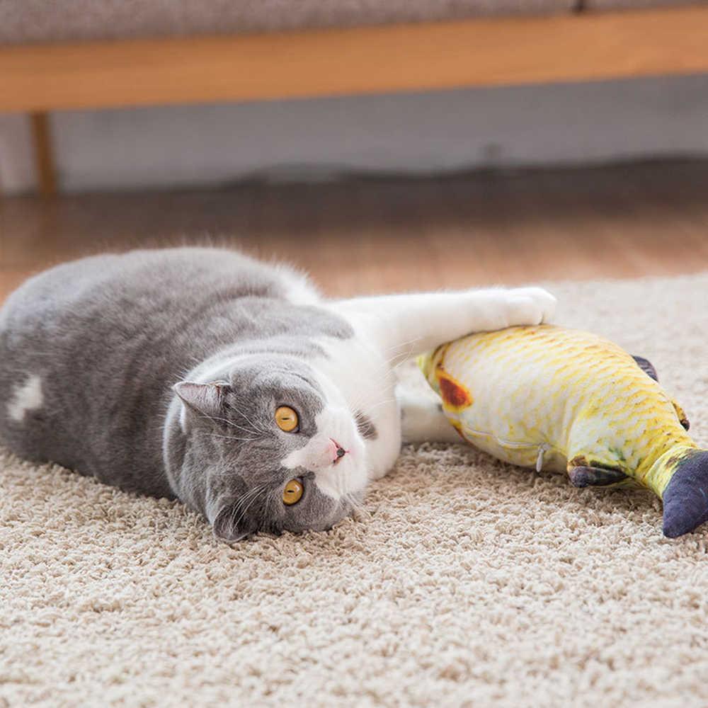 Mewah Kreatif 3D Ikan Mas Ikan Bentuk Kucing Mainan Hadiah Catnip Ikan Boneka Boneka Bantal Simulasi Ikan Bermain Mainan untuk Hewan Peliharaan mainan Anjing
