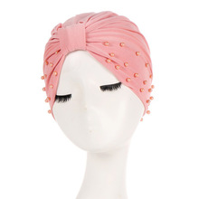 1PC Solid Women Cotton Beading India Ruffle Turban Elastic Muslim Hat Chemo Cap Headwrap Soft Sleeping Hat Beanie Hijabs