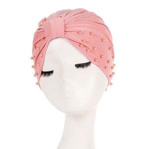 Image 1 - 1PC de las mujeres de algodón cordón India turbante fruncido elástico musulmán gorro para la quimio tapa diadema sueño reparador sombrero Hijabs
