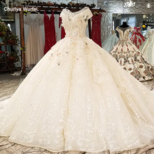 LS0065 original sexy champagne wedding dress o neck cap sleeve lace up v back color flowers latest wedding dress with long train(China)