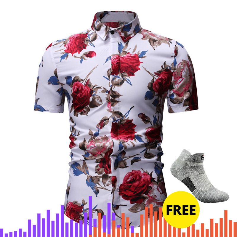 Men's Blouse Long Sleeve Shirts Slim Fit Shirt Flowers Man Print Short Sleeve Casual Beach Hawaiian Shirt  Autum Male Shirt