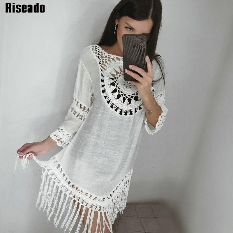 Riseado New Tassel Long Beach Dress Sexy Hollow Cover Ups Beach Wear Long-sleeved Swimsuits Women White Bathing Suits 2020
