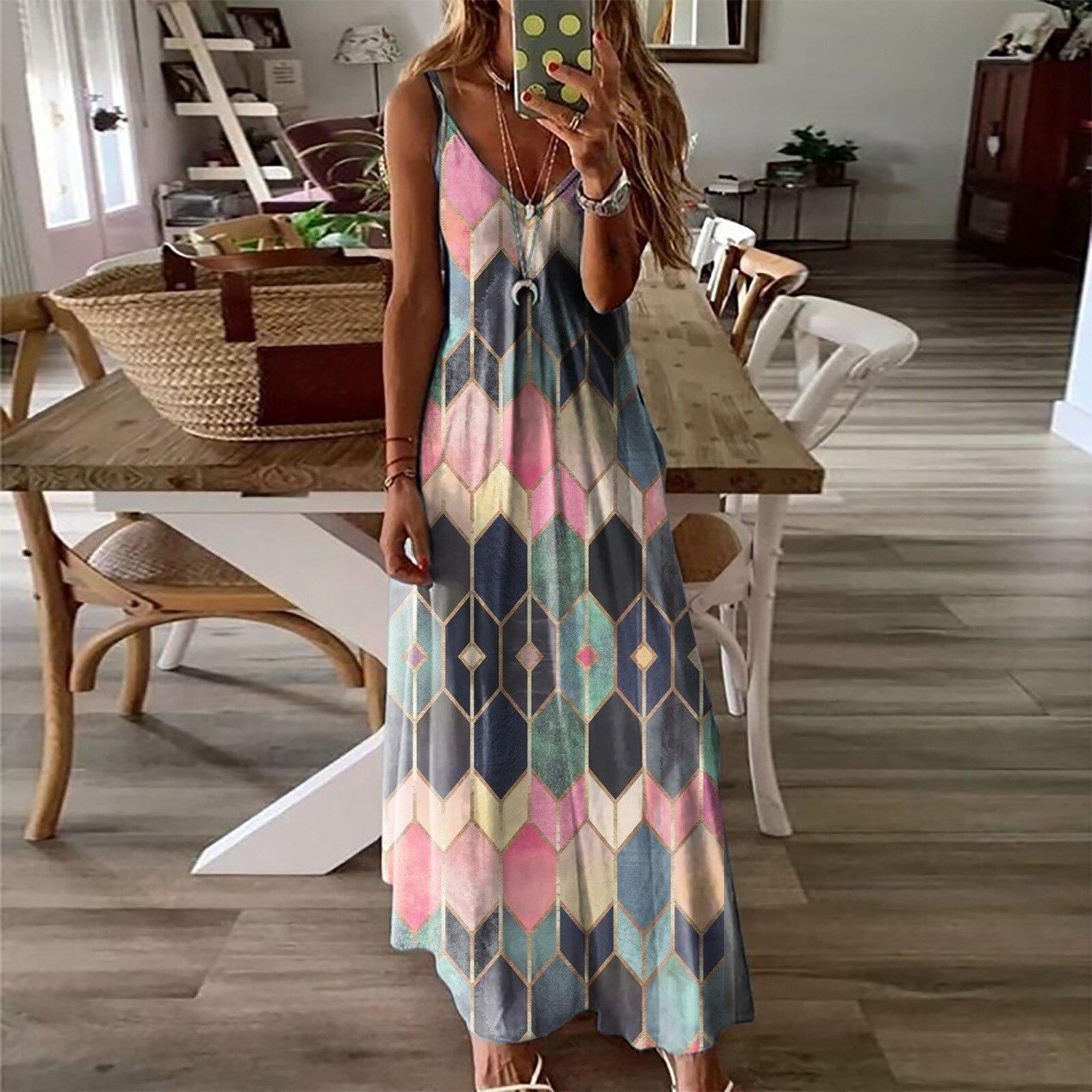 Women's Summer Casual Printed Camisole Long Dress Fashion Sexy Plus Size Dress Bohemian Dress 9