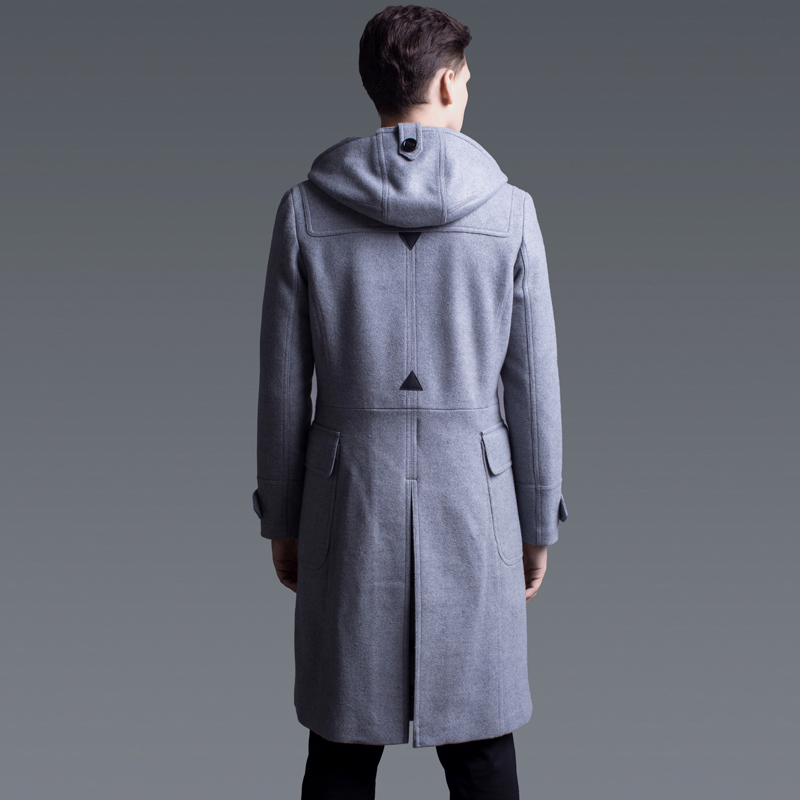 Luxury Solid Wool Color Horn Button Mens Jackets Coats Plus Size 6xl Autumn And Winter Hooded Man Trench