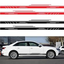 2Pcs Vinyl Stripes Decal Sticker Car Body Side Wrap Black Graphics Waterproof Auto Accessories