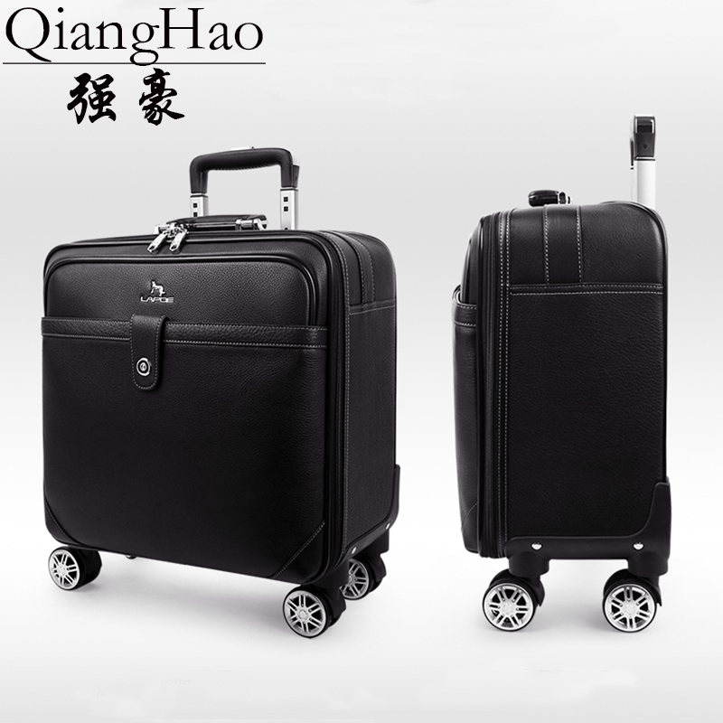 Trolly-Bag Cabin-Suitcase Travel-Box Hand-Luggage Black Retro Qianghao Vintage Genuine-Cow-Leather