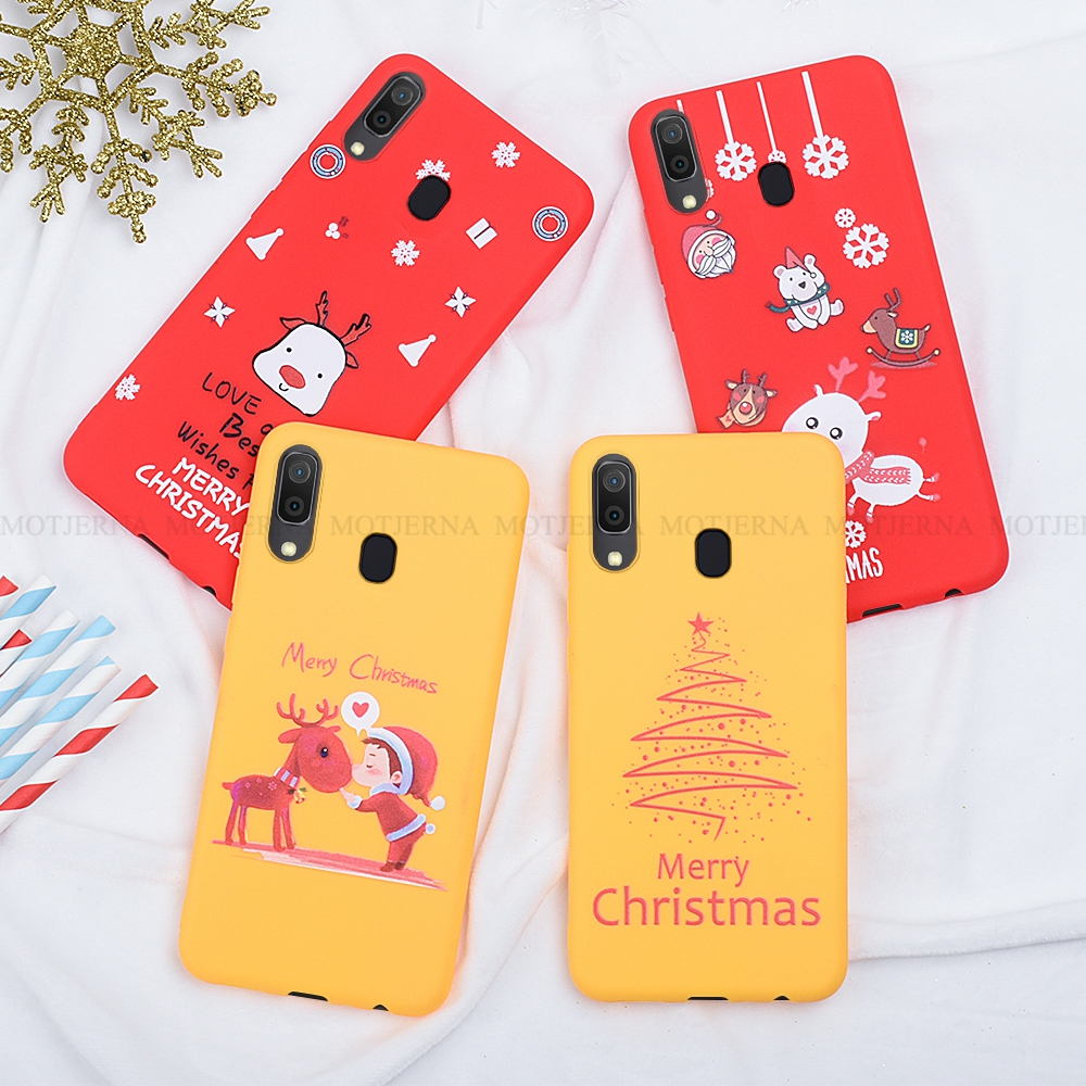 For <font><b>Samsung</b></font> Galaxy A10 A30 A50 A70 A7 A750 <font><b>A2018</b></font> Red Cartoon Christmas Deer & Snowman Soft TPU Phone Back Cover Case Gift image
